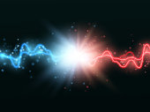 Collision of two forces with red and blue light. Vector illustration. Versus concept.