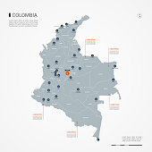 Colombia map with borders, cities, capital and administrative divisions. Infographic vector map. Editable layers clearly labeled.