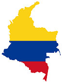 vector illustration of Colombia map and flag