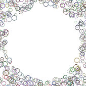 Color abstract random circle background - trendy vector graphic design from colorful rings on white background
