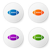 Color American Football ball icon isolated on white background. Set color icon in circle buttons. Vector Illustration