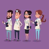 color background hospital medical staff team doctors vector illustration