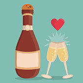 color background with champagne bottle and champagne glasses with heart on top vector illustration