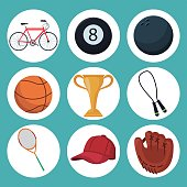 color background with set icons in circular frame of elements sport vector illustration