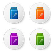 Color Bag of food for cat icon isolated on white background. Fish skeleton sign. Food for animals. Pet food package. Set icons in circle buttons. Vector Illustration