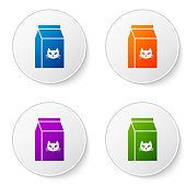 Color Bag of food for cat icon isolated on white background. Food for animals. Pet food package. Set icons in circle buttons. Vector Illustration