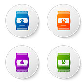 Color Bag of food for pet icon isolated on white background. Food for animals. Pet food package. Dog or cat paw print. Set icons in circle buttons. Vector Illustration