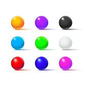Color balls isolated on white background. Vector realistic design elements.