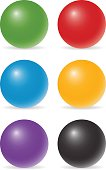 set of six color balls
