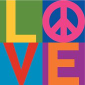 Text design of LOVE with a peace symbol in a stacked color-block design.