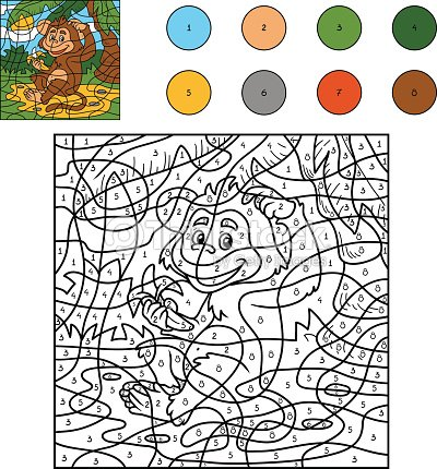 color by number game for children monkey with a banana vector art