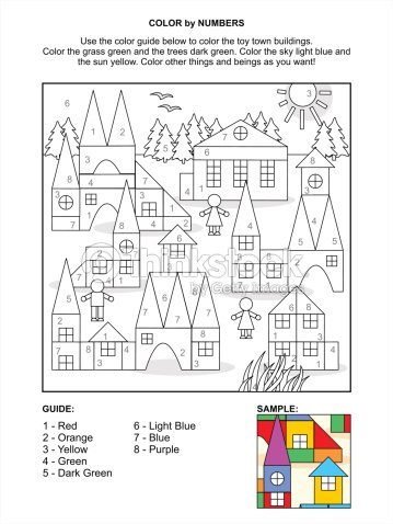 color by numbers activity page toy town vector art - Color Activity