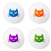 Color Cat icon isolated on white background. Set icons in circle buttons. Vector Illustration