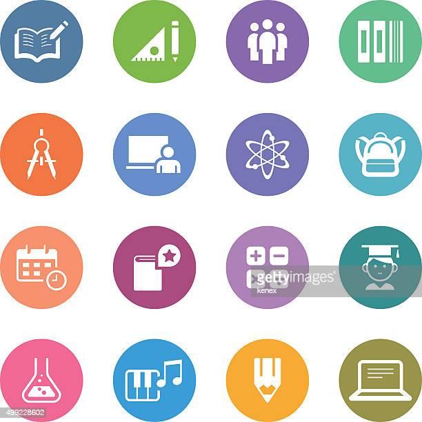 Color Circle Icons Set | Education