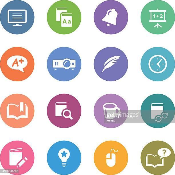 Color círculo conjunto de iconos de educación /