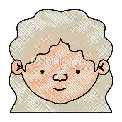 Silhouette Crayon Couleur De Femme Agee Visage Avec Une Coiffure