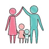 color crayon silhouette pictogram couple parents holding hands up and baby boy and girl in the middle of them vector illustration