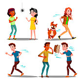 Color Design Afraid Character People Set Vector. Young Woman Afraid Spider And Running Away From Dog, Man Scaring Cake Flying In Face On Birthday. Frightened Flat Cartoon Illustration