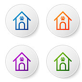 Color Dog house and paw print pet icon isolated on white background. Dog kennel. Set icons in circle buttons. Vector Illustration