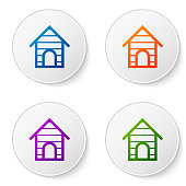 Color Dog house icon isolated on white background. Dog kennel. Set icons in circle buttons. Vector Illustration