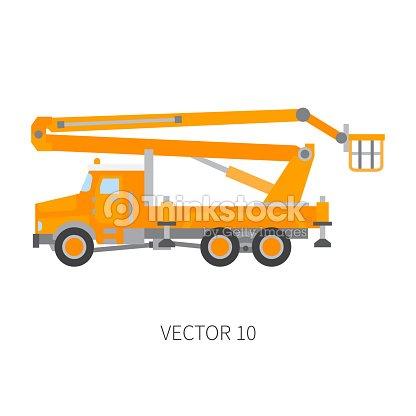 Color Plano Vector Icono Construcción Maquinaria Auto Grúa Estilo ...