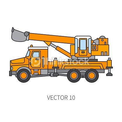 Color Plano Vector Icono Construcción Maquinaria Camión Excavador ...