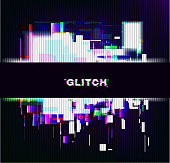 Color glitch background. Distortion effects for advertising. Vector illustration.