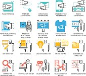 Color Icons set of Advertising Types and Career. Pixel Perfect Icons. Simple mono linear pictogram pack stroke vector symbol concept for web graphics.