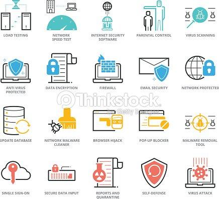 cca5e14a94fbf Color de conjunto de iconos de Anti Virus y seguridad de la red para el  desarrollo