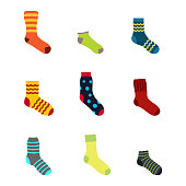 color icons set with socks for your design