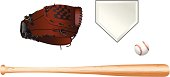 100% vector artwork of baseball equipment. A baseball bat, a baseball glove, a baseball, and a home plate.