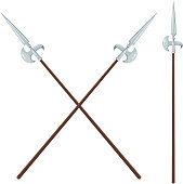 Color image of two crossed halberds on a white background. Vector illustration halberds style Cartoon