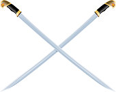 Color image of two crossed vintage sabers on a white background. Vector illustration of retro swords