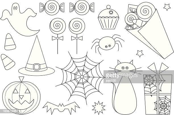 Farbe In Halloween-Symbol Set