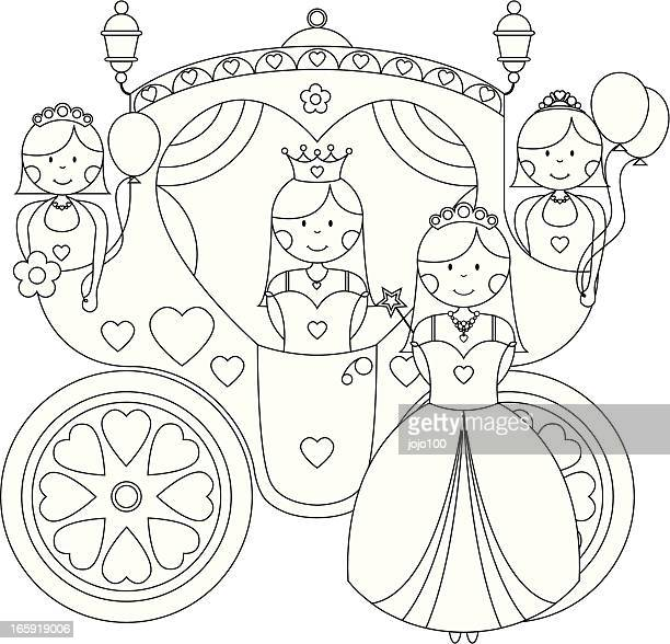 Color In Princesses and Party Carriage