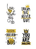 Color inspirational vector illustration set, motivational quotes typographic poster. Thin marker hand drawn line icon for web, mobile icon, elements, logos, labels, badge, card, t-shirts, poster
