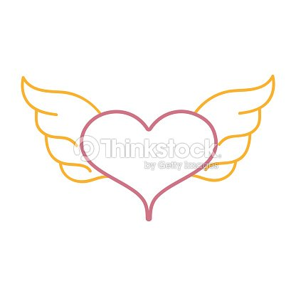 Color Line Heart With Wings Symbol Love Art Vector Art Thinkstock