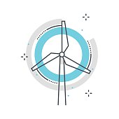 Color line, wind mill concept illustration, icon, background and graphics. The illustration is colorful, flat, vector, pixel perfect, suitable for web and print. It is linear stokes and fills.