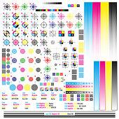 CMYK color management elements. Publishing graphic symbol utilities. Press mark. Calibration, cutting marks. EPS 10 vector file