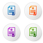 Color Medical certificate for travel with dog or cat icon isolated on white background. Document for pet. Dog or cat paw print. Set icons in circle buttons. Vector Illustration
