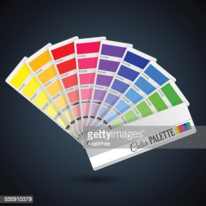 Guia de paleta de cores. Cartões de catálogo : Arte vetorial