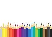 color pencils background, artist stationary, artist tools, vector illustration