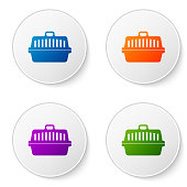 Color Pet carry case icon isolated on white background. Carrier for animals, dog and cat. Container for animals. Animal transport box. Set icons in circle buttons. Vector Illustration