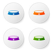 Color Pet food bowl for cat or dog icon isolated on white background. Dog or cat paw print. Set icons in circle buttons. Vector Illustration