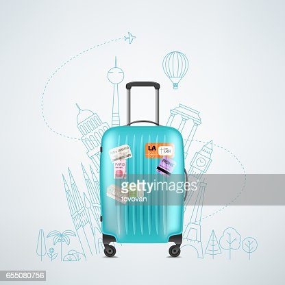 Color plastic travel bag with different travel elements : Vector Art