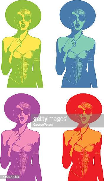 Color set of Line art illustrations of a woman speaking