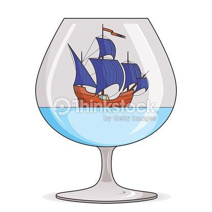 farbeschiff mit blauen segel im glas souvenir mit segelboot f r reise tourismus reiseb ro hotels. Black Bedroom Furniture Sets. Home Design Ideas
