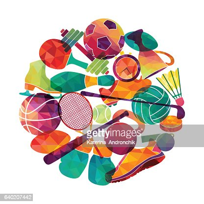 Color sport background. Football, basketball, hockey, box, golf, tennis. Vector : Vector Art