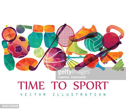 Color sport background. Football, basketball, hockey, box, golf, tennis. Vector : Vektorgrafik