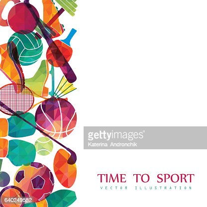 Color sport background. Football, basketball, hockey, box, golf, tennis. Vector : Vector Art